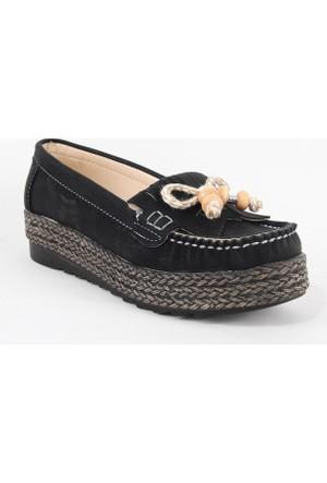 Leydi 65 Hasır Taban Bayan Günlük Ayakkabı Siyah