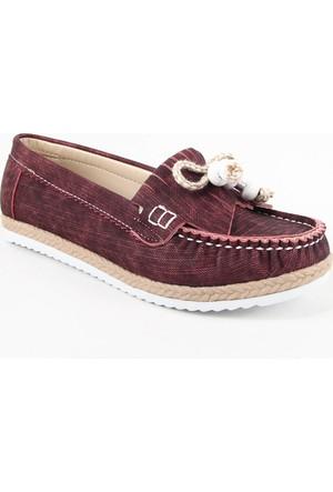 Leydi 66 Hasır Taban Bayan Günlük Ayakkabı Bordo