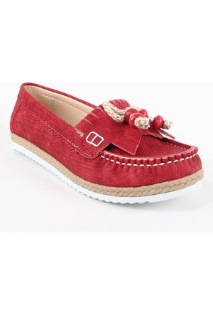 Leydi 66 Hasır Taban Bayan Günlük Ayakkabı Kırmızı