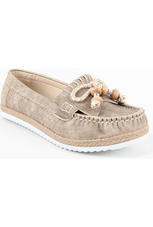 Leydi 66 Hasır Taban Bayan Günlük Ayakkabı Krem