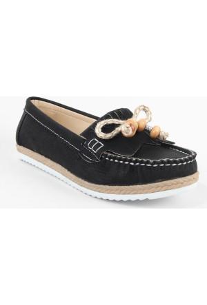 Leydi 66 Hasır Taban Bayan Günlük Ayakkabı Siyah