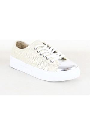 Wanetti 3709 Bayan Zımbalı Parlak Ayakkabı Bej