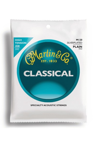 Martin M120 80/20 Klasik Gitar Teli Bronze Plain-End High Tension Nylon Classic Guitar Strings
