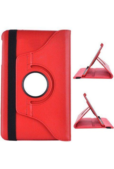 Samsung Galaxy Tab 4 T330 360 Dönebilen Kırmızı Stand Kılıf