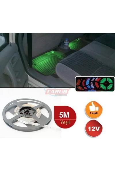 Carub Şerit Led 12V 5Mt İç Mekan Led 3Chip Yeşil