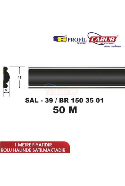 Salman Çıta Sal39 (18Mmx50 Metre) Siyah Bombeli Kenarı Krom