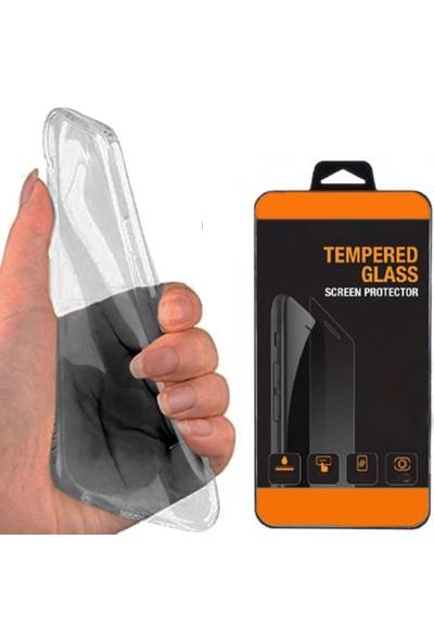 Exclusive Phone Case Vestel Venus V3 5010 Kılıf Silikon Tam Koruma 0.2Mm Siyah++Tempered Glass