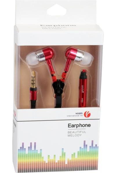 Vcom M227-R Kırmızı Fermuarlı Mikrofonlu Kulaklık