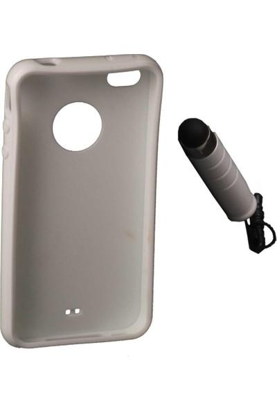Elba Iphone 4-4S Beyaz Silikon Arka Kapak+Kalem