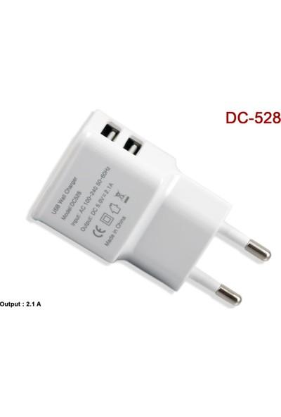 Vcom Dc528-W 2.1A Dual Usb Şarj Aleti Beyaz