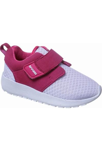 Sanbe Cırtlı Kız Spor Ayakkabı Fuşya Beyaz