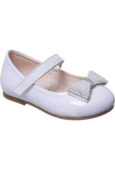 Sanbe Cırtlı Kız Babet Ayakkabı Beyaz