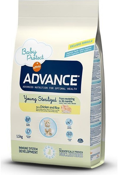 Advance Young Sterilised Chickenrice Tavuklu Kısırlaştırılmış Genç Kedi Maması 1,5 Kg