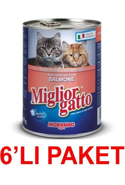Miglior Gatto Somonlu Kedi Konservesi 405 Gr (6'li Paket)