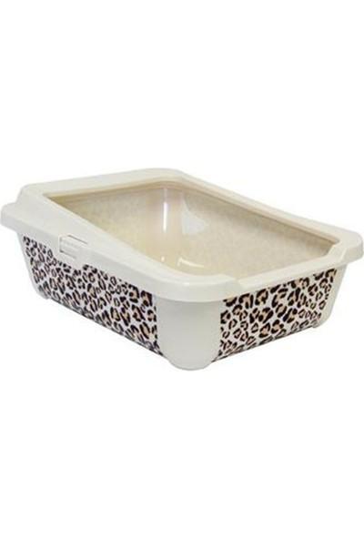 Moderna Hercules Safari Kedi Desenli Açık Kedi Tuvalet Kabı 50 Cm