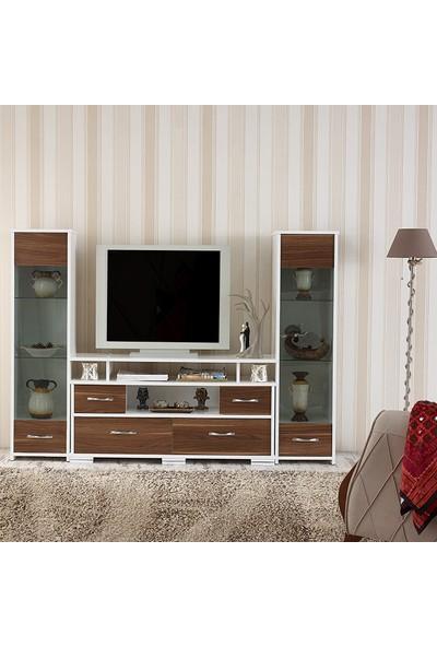 Abre-440-441Ceviz Tv Ünitesi Tv Sehpası Ceviz
