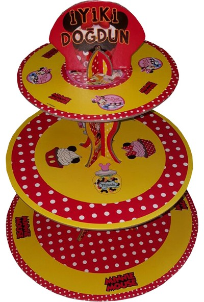 Tahtakale Toptancısı 3 Katlı Karton Cupcake Standı Minnie Mouse Temalı Kek Standı