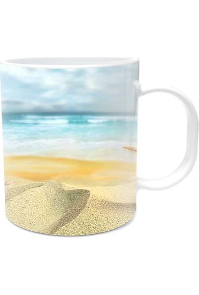 Fotografyabaskı Kumsalda Deniz Yıldızı Beyaz Kupa Bardak Baskı