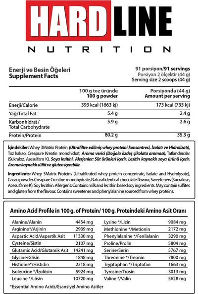 Hardline Nutrition Whey 3 Matrix Protein 4000 Gr