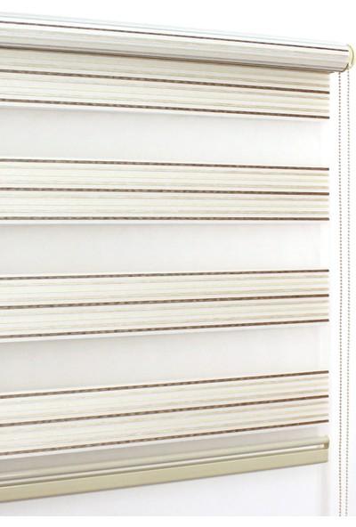 Buperde Krem Kahve Beyaz Pliseli Zebra Perde