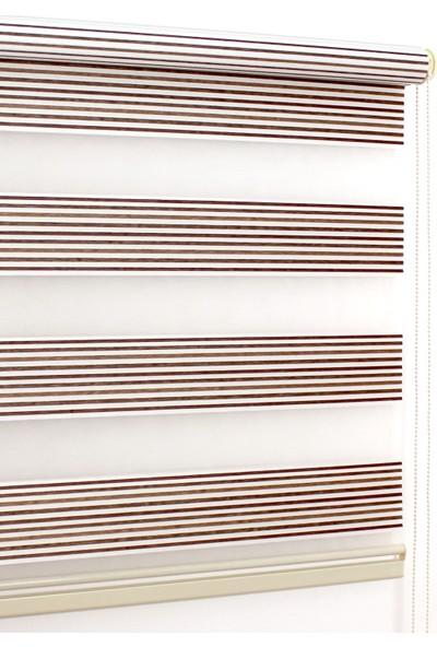 Buperde Kahve Beyaz Pliseli Zebra Perde