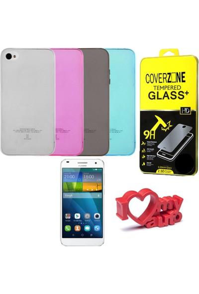 CoverZone LG G3 Stylus Kılıf 0,3mm Silikon + Temperli Cam + Araç Kokusu