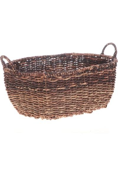 Kanca Ev Bacbac Hasır Oval Sepet Koyu Kahverengi Büyük