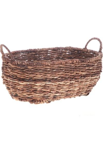 Kanca Ev Bacbac Hasır Oval Sepet Koyu Kahverengi Orta