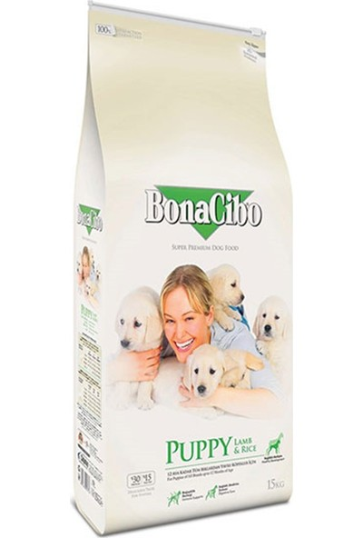 BonaCibo Taze Kuzu Etli ve Pirinçli Yavru Köpek Maması 15 Kg