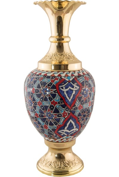 El Yapımı ve Altın Kaplama 30 cm Vazo