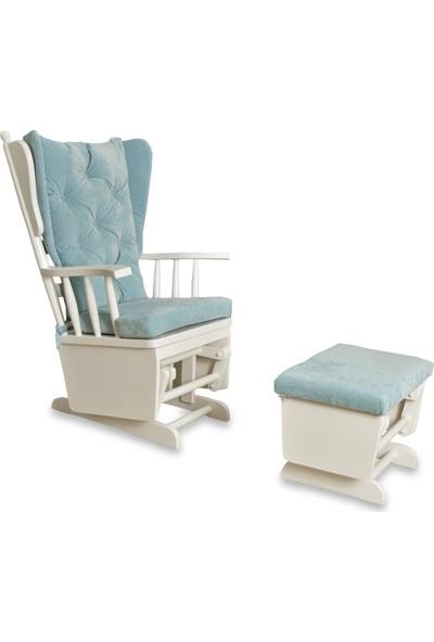Asedia Teksas Puflu Sallanan Mavi Sandalye
