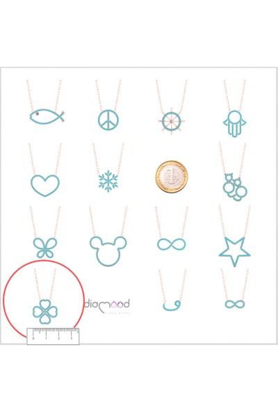 Diamood Jewelry Gümüş Firuze Taşlı Yonca Kolye