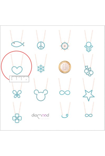 Diamood Jewelry Gümüş Firuze Taşlı Kalp Kolye