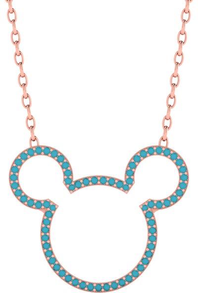 Diamood Jewelry Gümüş Firuze Taşlı Miki Mouse Kolye