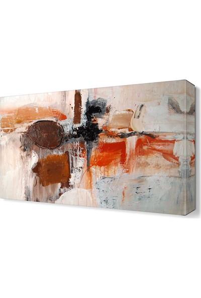 Dekor Sevgisi Turuncu Şekiller Tablosu 45x30 cm