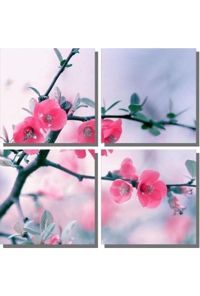 Dekor Sevgisi Pembe Çiçekler Tablosu 85x85 cm