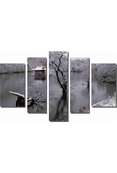 Dekor Sevgisi Suyun Ortasındaki Ev Tablosu 84x135 cm