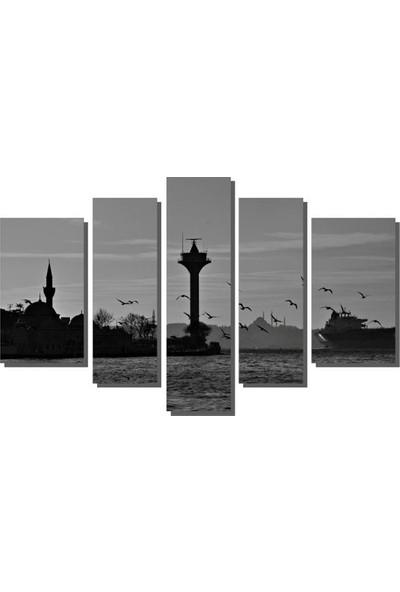 Dekor Sevgisi Siyah Beyaz İstanbul Tablo 84x135 cm