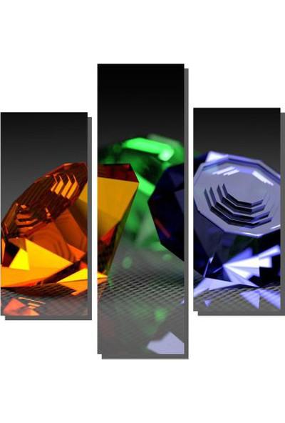Dekor Sevgisi 3 Parçalı Diamonds Tablo 80x80 cm
