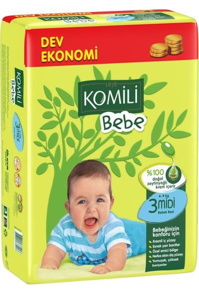 Komili Bebe Bebek Bezi 3 Beden Dev Ekonomi Paketi 72 Adet