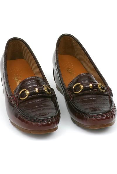 Zerrin Ayakkabı Bordo Rugan Taşlı Toka Kadın Ayakkabı-190571