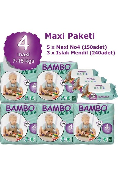 Bambo Nature Bebek Bezi 5'li Paket 4 Beden 150 Adet + Islak Havlu 240 Adet