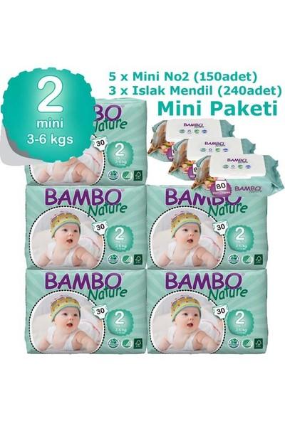 Bambo Nature Bebek Bezi 5'li Paket 2 Beden 150 Adet + Islak Havlu 240 Adet