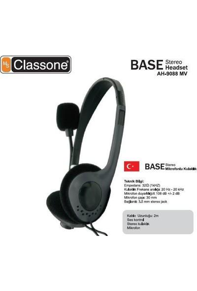 Classone Base Serisi Kulaklık , Mikrofonlu Ve Kablodan Ses Kontrol / Siyah Ah-9088Mv