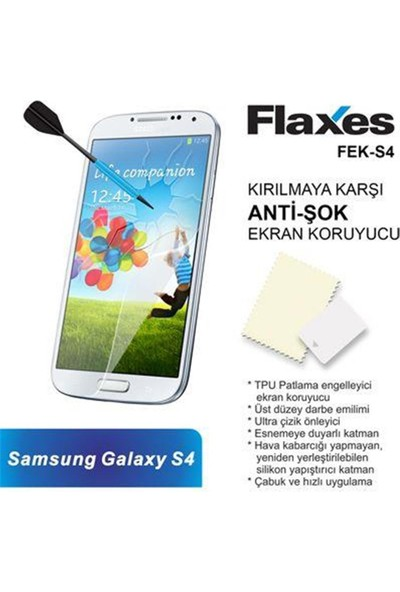 Flaxes Fek-S4 Galaxy S4 Uyumlu Anti-Şok Ekran Koruyucu Fek-S4