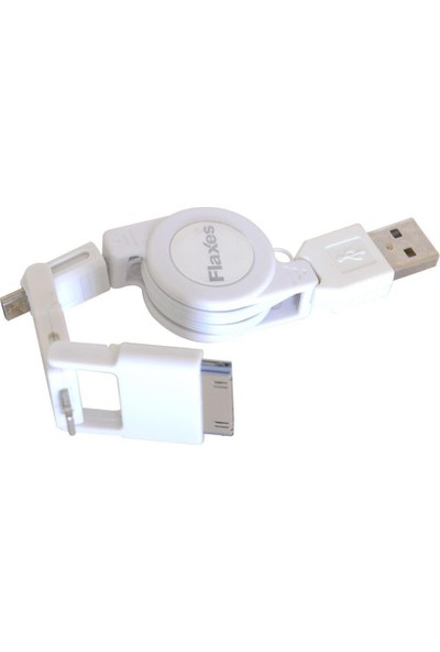 Flaxes Data Kablosu Iphone5-4 Ipad2-4-Mini Samsung Vs. Makaralı Beyaz Fms-505B