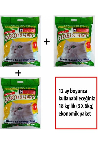 ODORLESS Micro Kedi Kumu Yıllık Paket 3 X 6 kg