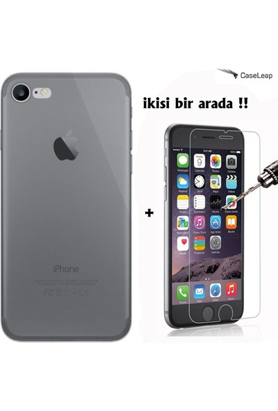 Case Leap iPhone 7 İnce Silikon Kılıf füme + Cam