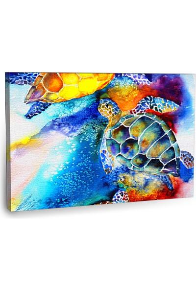 Fotografyabaskı Suda Kaplumbağalar Tablo 75 Cm X 50 Cm Kanvas Tablo Baskı