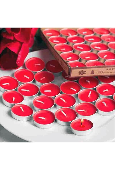 Tvshopmarket 100 Lü Kırmızı Tealight Mum